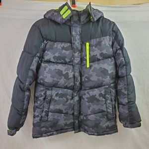 Xersion Puffer Coat Gray Camo Boy's XL 14/16 (694)